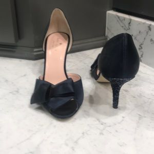 Kate Spade Navy Dress Shoes W Pave Heel